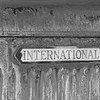 International emblem on abandoned truck.