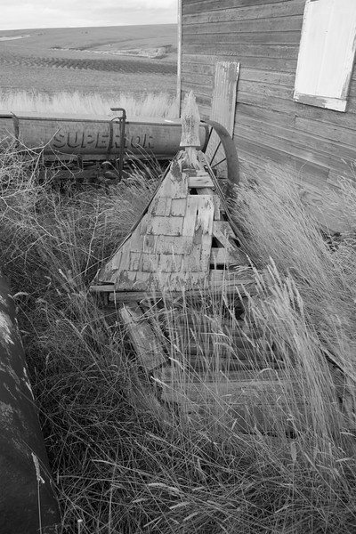 Barn steeple laying in weeds.