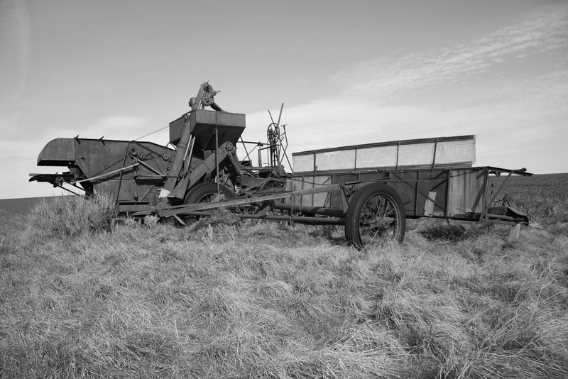 Abandoned combine on a scabrock.