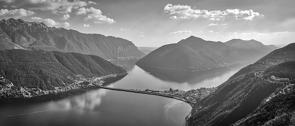 Lago di Lugano, Bissone and Melide, shot from the Monte San Salvatore