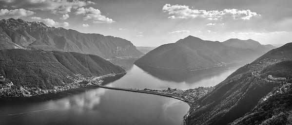 Lago di Lugano, Bissone and Melide, shot from the Monte San Salvatore
