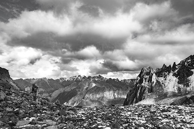 Arriving at Highcamp B&W