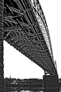 portalnd bridge, portland ct., bridge, steel bridge, girder, box, water, ct. river, river, flow, Middletown CT., black and white, B&W