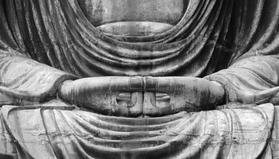 "The ""zenjo"" mudra on the Daibutsu, Kamakura."