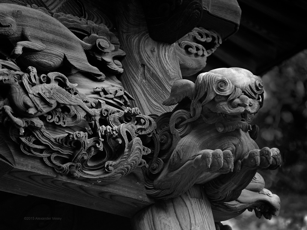 Lion in wood, Kuhoji 九品寺 Temple, Tokyoh