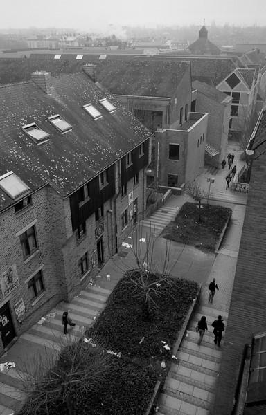 Depuis mon ex-kot rue de l'Hocaille, Louvain la Neuve - F100 et 20-35, Fuji Acros 100