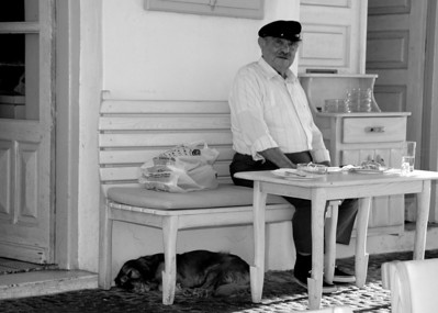 A man and his dog, Mykonos, Greece