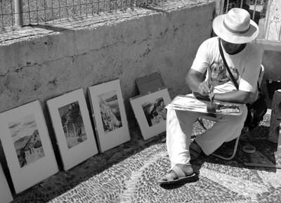 Street Artist, Santorini, Greece