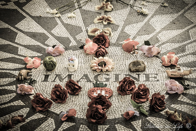 """Imagine all the people living life in peace"".....hard to not stop and think of this when walking through Central Park's Strawberry Fields.  Was it peace, atheism, possibly socialism John was speaking of?  He definitely left too soon with words unsaid and work undone."