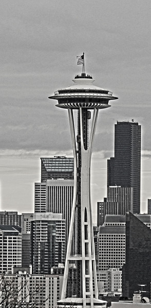 Retro styling of the Space Needle, Seattle, Washington