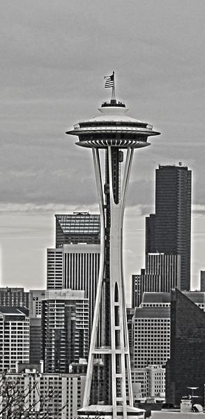 Retro styling of the Space Needle, Seattle, Washington
