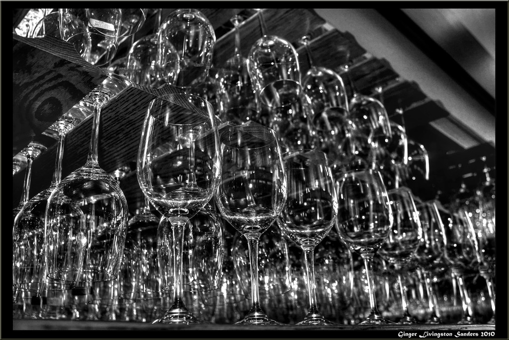Wine glasses in a wine tasting room