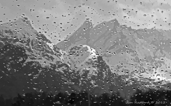 Rainy day in the mountains near Olden, Norway.