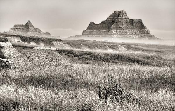 Morning light (black-white conversion) on the Big Badlands near the Ben Reifel Visitor Center in northeastern Badlands National Park near Interior, South Dakota, #0720