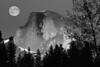 #0083b Halfdome and moon in Yosemite National Park.