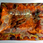 "Copper candy dish.  This copper candy dish is hammer formed and then ""flame painted"" with a torch to bring out some incredible colours and patterns in the copper."