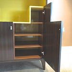 Finished cabinet on top of the stand we made at Kimmerly Blacksmith