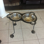 Dog dishes, these allow your large dog to eat in comfort and keep the bowls in the same spot of the kitchen.  We're making a bunch of these right now.