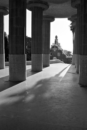 Columns under the plaza at Parc Guell