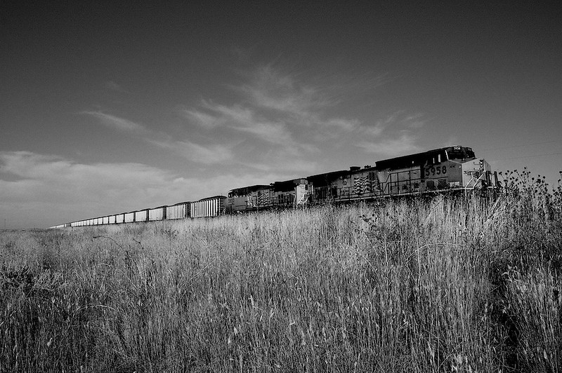 Clean cole?  One of many, endless coal trains crossing the WY prairie on its way to supply a power plant.