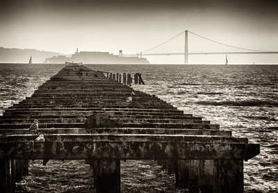 """""""Berkeley Ferry Pier"""" Old ferry pier points to Alcatraz and Golden Gate Bridge in late afternoon."""