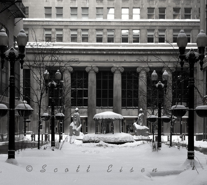 Courtyard in Chicago after the 2011 blizzard