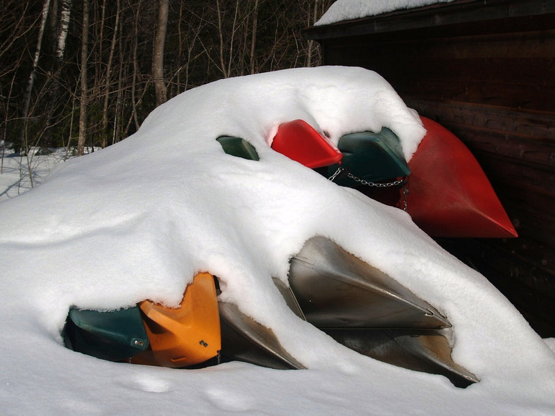 Canoes in snow<br /> Vermont 2008