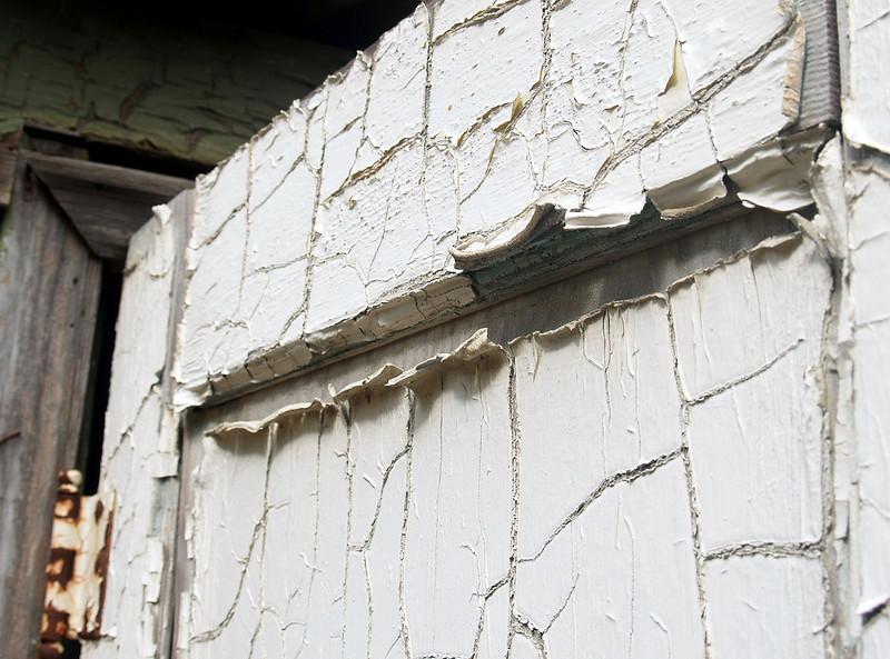 Peeling paint on an abandoned farmstead near Soledad in the Gavilan Mountain Range, California. 2007