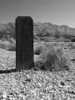 Time and weather have wiped away any writing that might have been on this marker.  Bullfrog Mine Cemetery near Rhyolite (ghost town) Nevada.  2007.