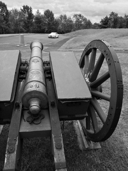 British cannon sights down on an unsuspecting Audi at the Barber wheatfield.