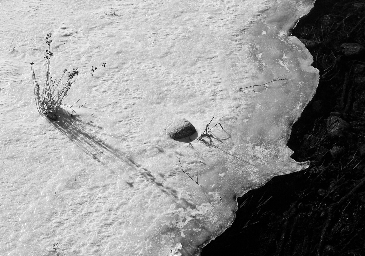 Walking the bridge over Wildlife Pond in Hollis, I just loved this little edge of ice.  It looks like a map to me and the shadows were pretty great, too.