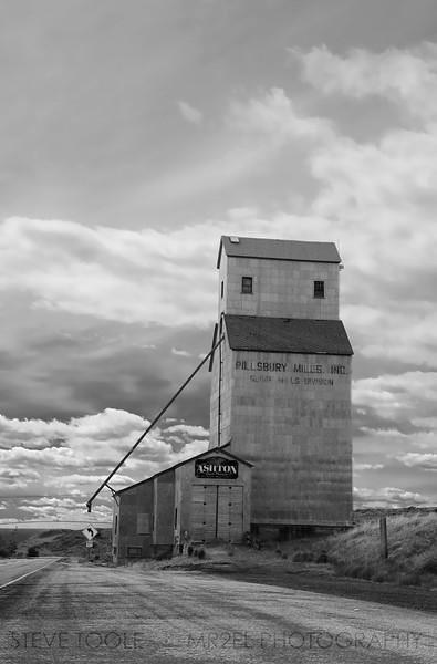 Wheat grain elevator near Ashton, ID.