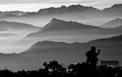 Late afternoon Poon Hill, Nepal, looking towards Dhaulagiri