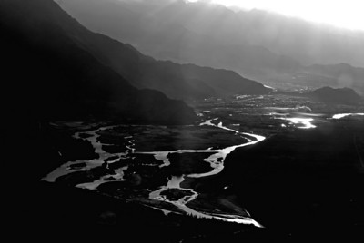 Indus valley from the air before landing at Leh airport