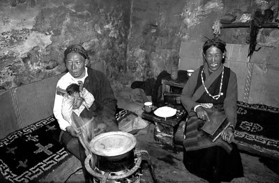 Tibetan herdsman Wangdi and his wife in their Muguthang home.