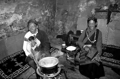 Tibetan herdsman Wangdi and his wife in their Muguthang home.