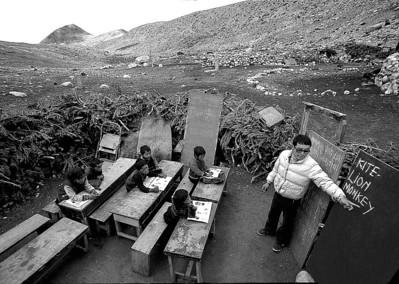The lone school teacher Lama La teaches English in a makeshift school outside his home. The bleak  Lhonak plateau lies more than 14,000 feet above sea level.