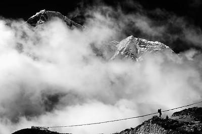 Trekker below Taboche near Dugla - Khumbu