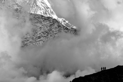 Clearing spring storm on Thamserku as seen from Luza on the Gokyo trek