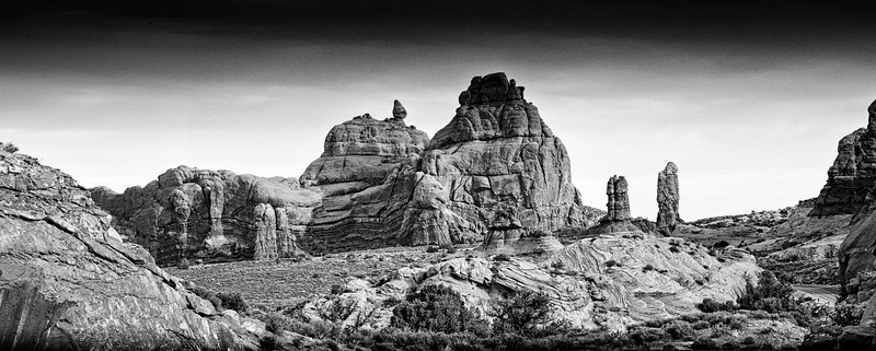 Arches National Park Another beautiful pile of rocks in black and white. This is nice in color too. Looks as a volcano left a pile of lava.  See color image Landscapes by Sandrai