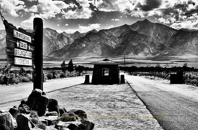The main entrance to Manzanar. This was often the first sight of the incoming internees to their home for an indefinite time.