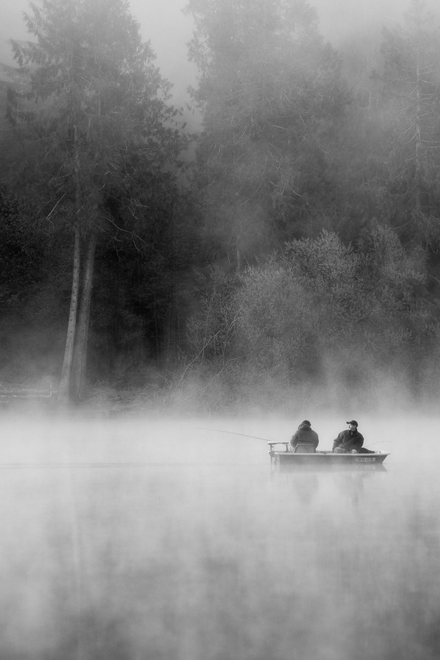 Fishers in the fog on Lake Crescent, Gig Harbor, WA