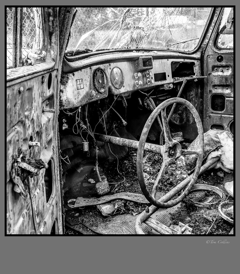 truck interior 1x1 framed signed-1