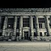 Manfield Savings Bank at night