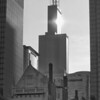 Willis Tower Looking from Millenium Park.  Tall Building, Small church