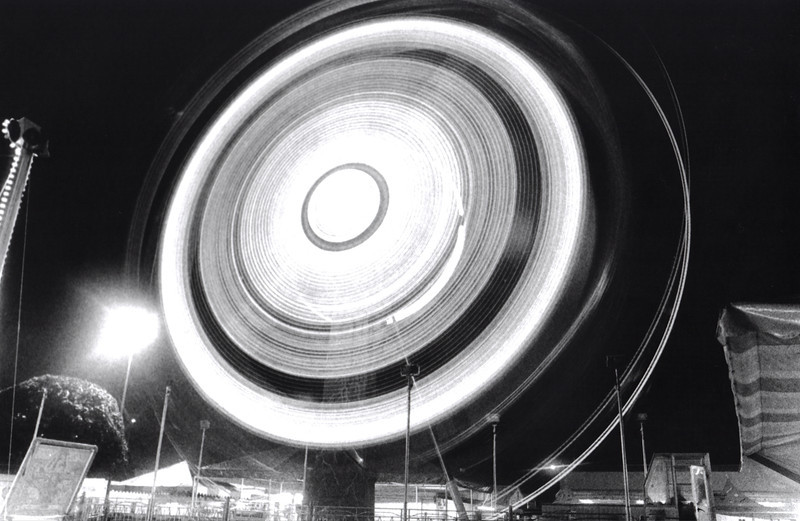 """Saturn"", Puyallup Fair night rides, black and white film, by nick shiflet"