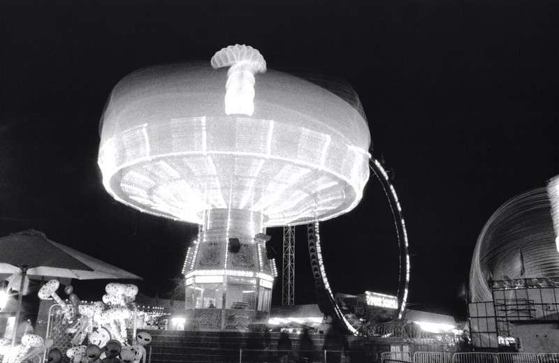 """""""Mushroom in the Night"""", Puyallup Fair night Rides, black and white film, by Nick Shiflet"""