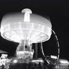 """Mushroom in the Night"", Puyallup Fair night Rides, black and white film, by Nick Shiflet"