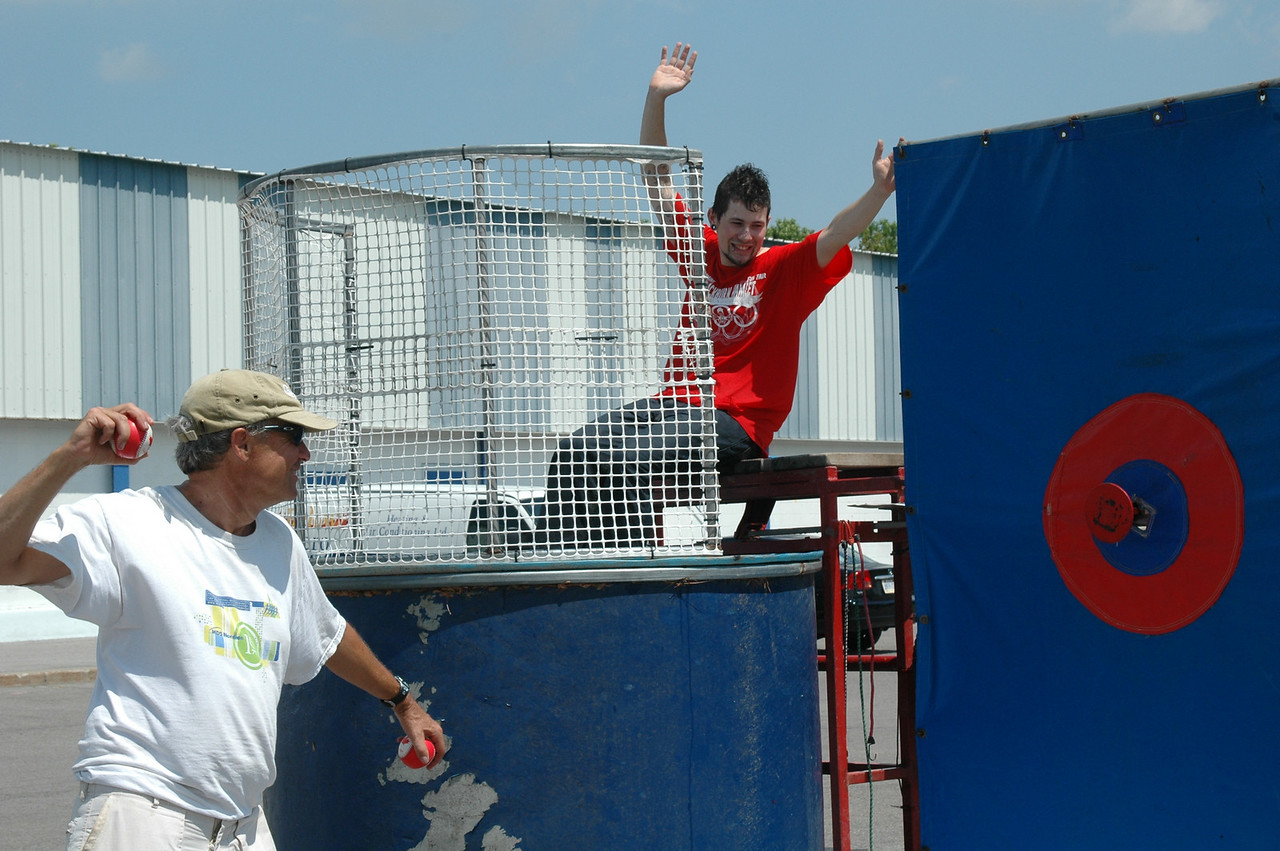 President of BCA, Roger Smiley tries his hand at the Dunk Bozo.