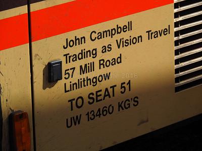 Vision Travel, Linlithgow Volvo B10M Jonckheere Mistral 50 FIG 8242 legal lettering